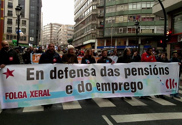El sindicato nacionalista gallego, CIG, convoco para hoy d?a 27 huelga general contra la reforma de las pensiones