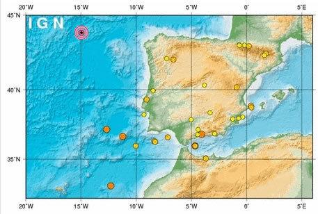 Localización del seísmo en el Atlántico Instituto Geográfico Nacional