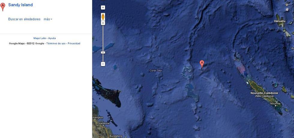 Teórica localización de la isla Sandy, entre Australia (izquierda) y Nueva Caledonia