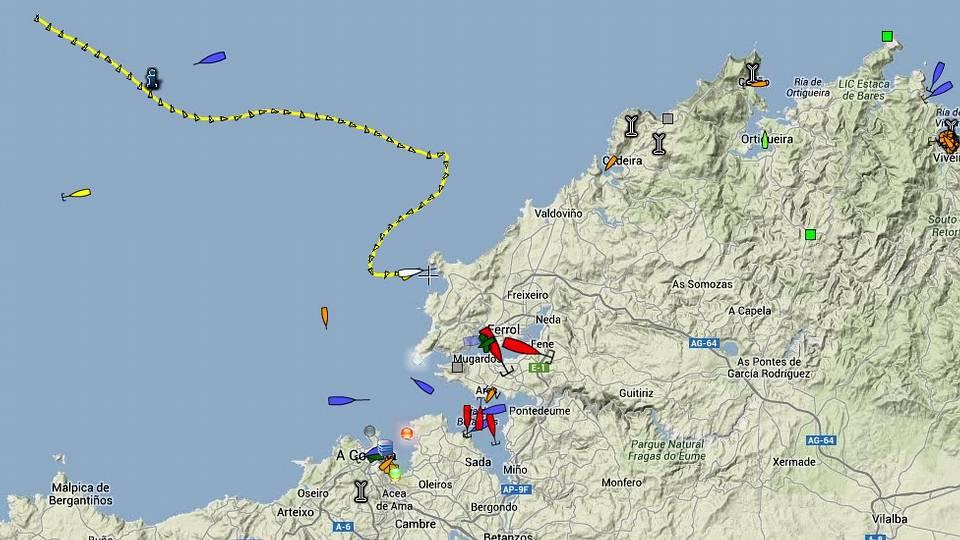 La línea amarilla describe la trayectoria del buque «Abis Calais»