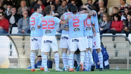 Los jugadores del Celta festejan el gol de Mario Bermejo en Cartagena. FOT�GRAFO: lof