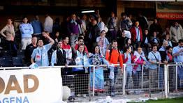 Los aficionados del Celta desplazados a Cartagena, los grandes perjudicados por la suspensi�n. FOT�GRAFO: lof
