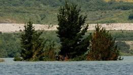 La forma de embudo de la cuenca supuso que la �ltima fase de llenado fuese, en apariencia, mucho m�s lenta que los primeros meses, ya que, pese a disminuir el calado, aumentaba la superficie de la l�mina de agua, hasta llegar a las orillas FOT�GRAFO: Jos� Pardo