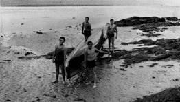 Equipo de remo de Cedeira, campe�n gallego de bateles y medalla de bronce en Sevilla en 1966. Mui�o, Pancho ,Lolo, Torres y Anselmo como patr�n FOT�GRAFO: XANEL
