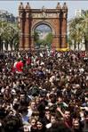 La manifestaci�n recorri� las calles del centro de Barcelona hasta disolverse pasadas las tres y media de la tarde FOT�GRAFO: ALEJANDRO GARC�A | EFE