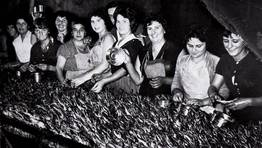 Mujeres trabajando en la conservera La Trocha, Burela, 1962 FOT�GRAFO: ARQUIVO IES MONTE CASTELO