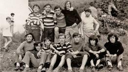 Vargas, Tano, Abelardo, Cali�o, Cea y otros amigos de Fene en las fiestas de Sillobre en 1971 FOT�GRAFO: Ra�l Rodr�guez