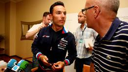 Purito Rodr�guez, l�der de la Vuelta, dio una rueda de prensa en Sanxenxo. FOT�GRAFO: M�nica Irago