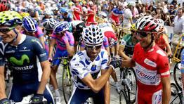 Purito Rodr�guez y Valverde, en la salida en Ponteareas. FOT�GRAFO: Oscar Vazquez