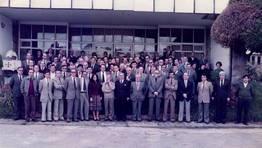 Empleados del Banco de Bilbao durante la celebraci�n de San Carlos en 1985 en Ferrol FOT�GRAFO: Juan Jos� Fuentes Morano