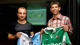 Cu�lar y Fabiano en La Voz de Galicia, con motivo del cl�sico de 2002. FOT�GRAFO: KOPA