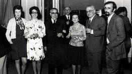 Festa de Santa Rita no ano 1973, na Sala dos Espellos do Concello de Ferrol. Maite, Nena, Agust�n Urgorri, Beceiro, Conchita, Robustiano de Castro e Lu�s FOT�GRAFO: Luis Rico Castro
