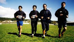 Nacho, Toni, Lucas y Fabiano. Todos, exjugadores del Celta. FOTÓGRAFO: MERCE ARES