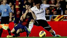 Valencia y Barcelona igualaron 1-1 en Mestalla. FOTÓGRAFO: JUAN CARLOS CARDENAS | Efe