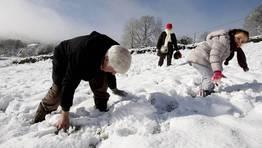 Los ni�os aprovecharon que no hab�a clase para jugar con la nieve en Doz�n. FOT�GRAFO: Marcos M�guez