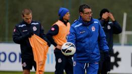 Franganillo fue quien dirigió al equipo en el entrenamiento del lunes tras la marcha de Paciência. FOTÓGRAFO: M. MARRAS