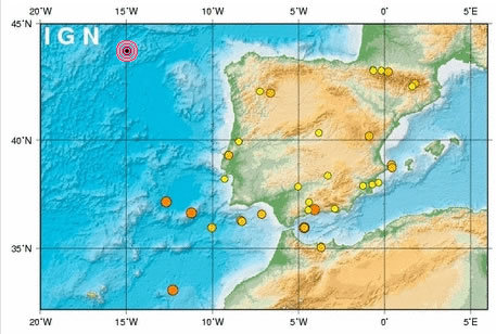 Un terremoto en el Atlántico se siente en Galicia