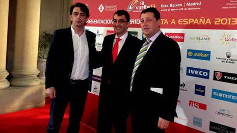 Diego Calvo, Javier Guillén y José Manuel Traba, esta mañana en Vigo
