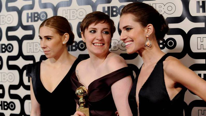 Las actrices de la premiada serie �Girls� Zosia Mamet, Lena Dunham y Allison Williams GUS RUELAS | REUTERS