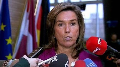Ana Mato, en una conferencia de prensa en Estrasburgo EFE